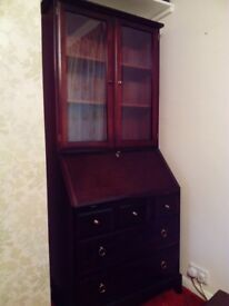 Mahogany Bureau /Display cabinet .Made by Stag.