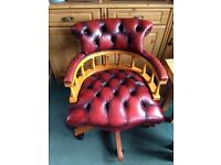 Vintage/ antique style leather captains chair beautiful chair.