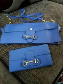 Handbag and purse in blue