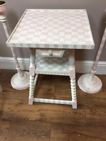 French Fruit Wood table with drawers and shelve vintage Shabby Chic