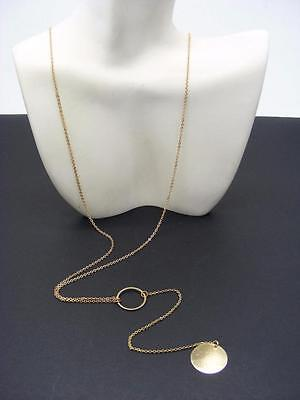 $16 Nordstrom Exclusive Circle Geo Disc Dainty Lariat Necklace Goldtone Metal