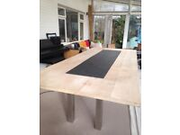 Large wooden dining table with slate inlay 3m x 1.3m