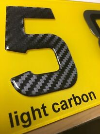 3D Gel Domed Digit Domed DIY Registration Reg Number Plate CARBON FIBRE Letter