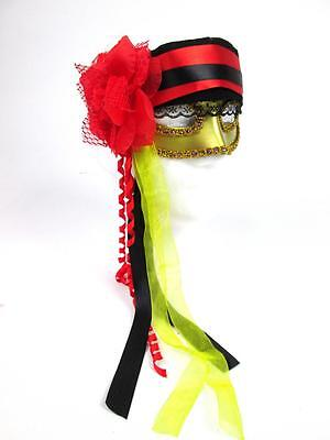 HAPPY HALLOWEEN WOMENS RED BLACK GOLD FANCY THEATRE MASQUERADE PIRATE MASK - Happy Halloween Theatre