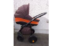 Tutis Zippy Orange Leather + fabric stroller pram pushchair buggy car seat - 3 in 1 -