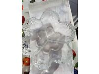 Crystal 3 section glass dish