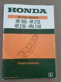 Honda Self-propelled rotary petrol mower. A heavy duty mower model HR 2160. Full working order .