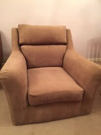 Next armchair, brown velvet. Good condition and very clean.