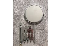 Shaving mirror - wall mounted, non smoking household, magnifying mirror on one side