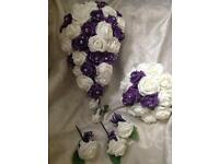 Purple and Ivory bridal flower set