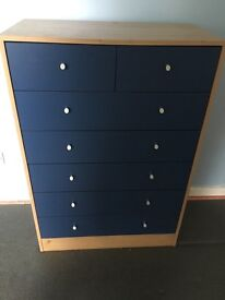 Blue and pine chest of drawers