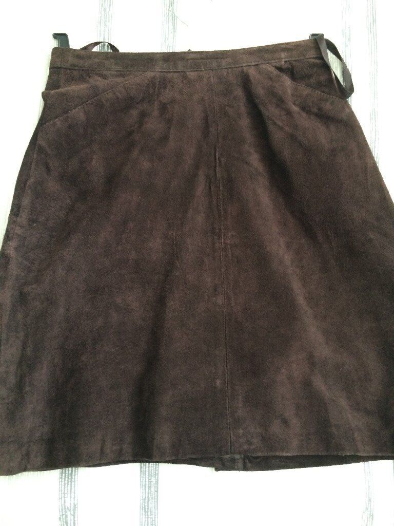 brown suede, fully lined skirt, 18inches long - £5