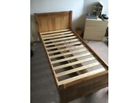 Wooden Single Bed Frame and Mattress