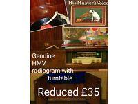Genuine HMV Radiogram with turntable