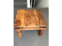 """indian table. rustic wooden shisham """"Jali"""" table. 60 cms square. perfect coffee table. £40"""