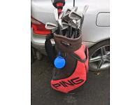 Golf clubs & Ping carry case