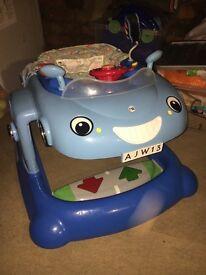 Baby boy car sit in seat comes walker