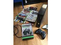Xbox 360 slim, charging station, loads of games