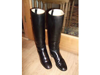 Black Leather Riding Boots - Size 5 by GT Hawkins