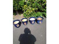 4 Blue Ceramic Planters