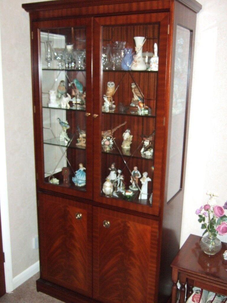 Clic Stag Cuban Flame Mahogany Display Cabinet Top Half Glazed 3 Gl Shelves Lighting