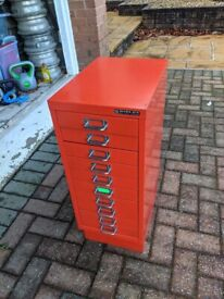Metal classic office draws, vibrant red colour