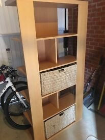 Wicker baskets beech storage unit