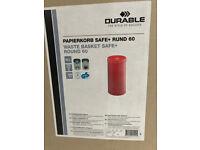 Large Bin Durable Safe+ Round 60 Waste Basket Office Home Red 60 L