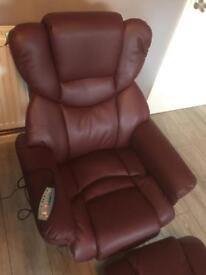 Brand new Milano burgundy massage/ heat chair and stool