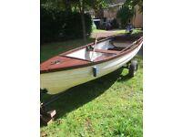 3m Rowing Boat, OB Motor & Trailer.