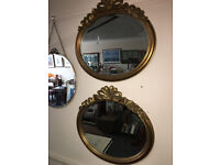 Charming Pair of Large Ornate Gilt Carved Antique Oval Bevelled Edge Mirrors Decorative Gilt Frames