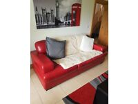 Stylish Red Leather 3+2+1 Suite, Excellent Condition