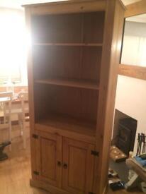 Mexican pine 2 door bookcase, New!