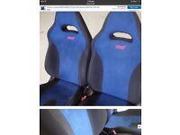 Sabaru sti blue an black sued front 2 bucket seats
