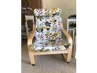 Ikea 2 arm chairs with foot stool