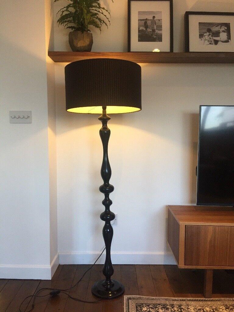Debenhams Floor standing lamp, Black timber with Habitat black fabric shade