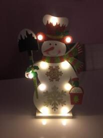 Battery powered snowman light up figure