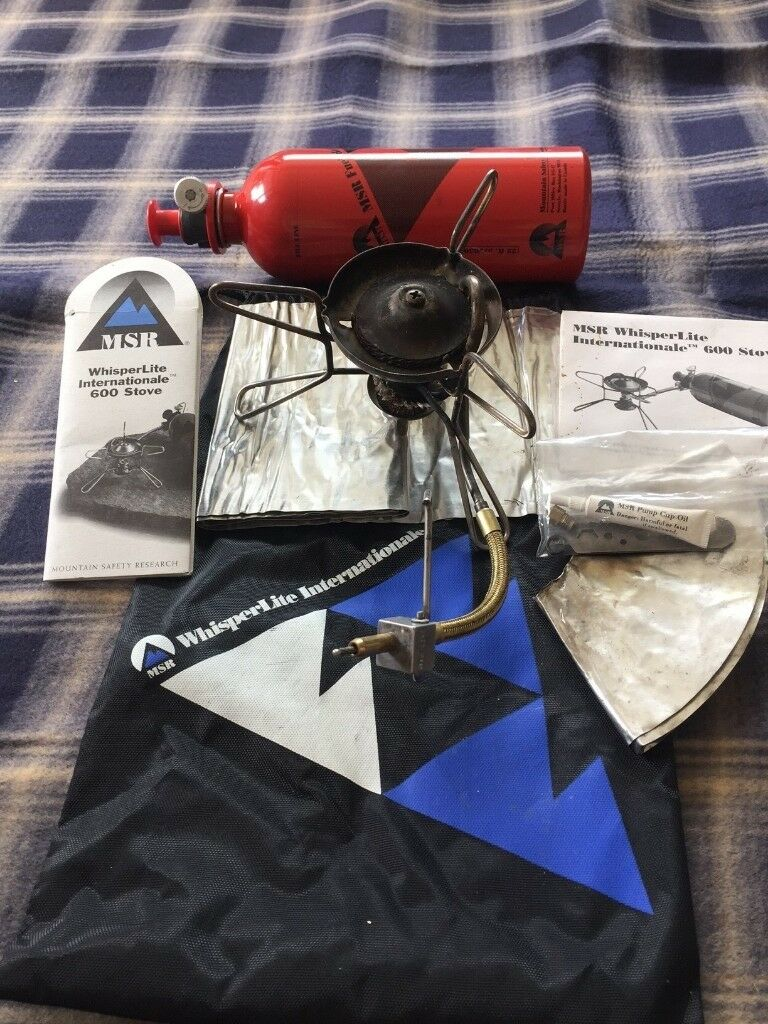 MSR WhisperLite Int. 600 Multi Fuel Camping Stove, MSR Pressurised fuel bottle, Sigg fuel bottle