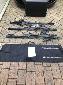 Porsche roof mounted bike carriers (3) + carry bag and keys