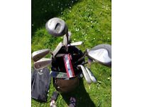 Golf clubs, tees, balls, bag and cover