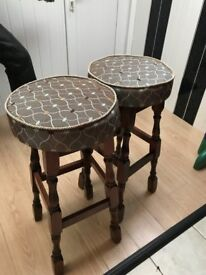 2 Fabric Covered Bar Stools