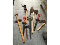 Wooden toys: sabres, swords, axes