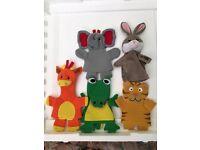Set of 5 animal hand puppets