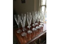 Villeroy and Boch crystal champagne glasses. 11 glasses in perfect condition.