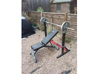 Weight bench/squat rack/dip station with removable bench & 100KG weights!