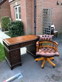 Brown Leather Chesterfield Captains Chair & Writing Desk Brown Leather Top & Glass Cover & Key