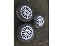 "Genuine 16"" Audi Alloy Wheels and Tyres - 15 Spoke - 8E0601025AR - 3 Alloys"