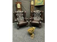 2 MATCHING CHESTERFIELD QUEEN ANNE CHAIRS