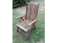 Reclining Hardwood Garden Chairs - 2 no.