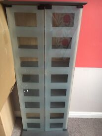 Frosted glass/glass cd/display cabinet
